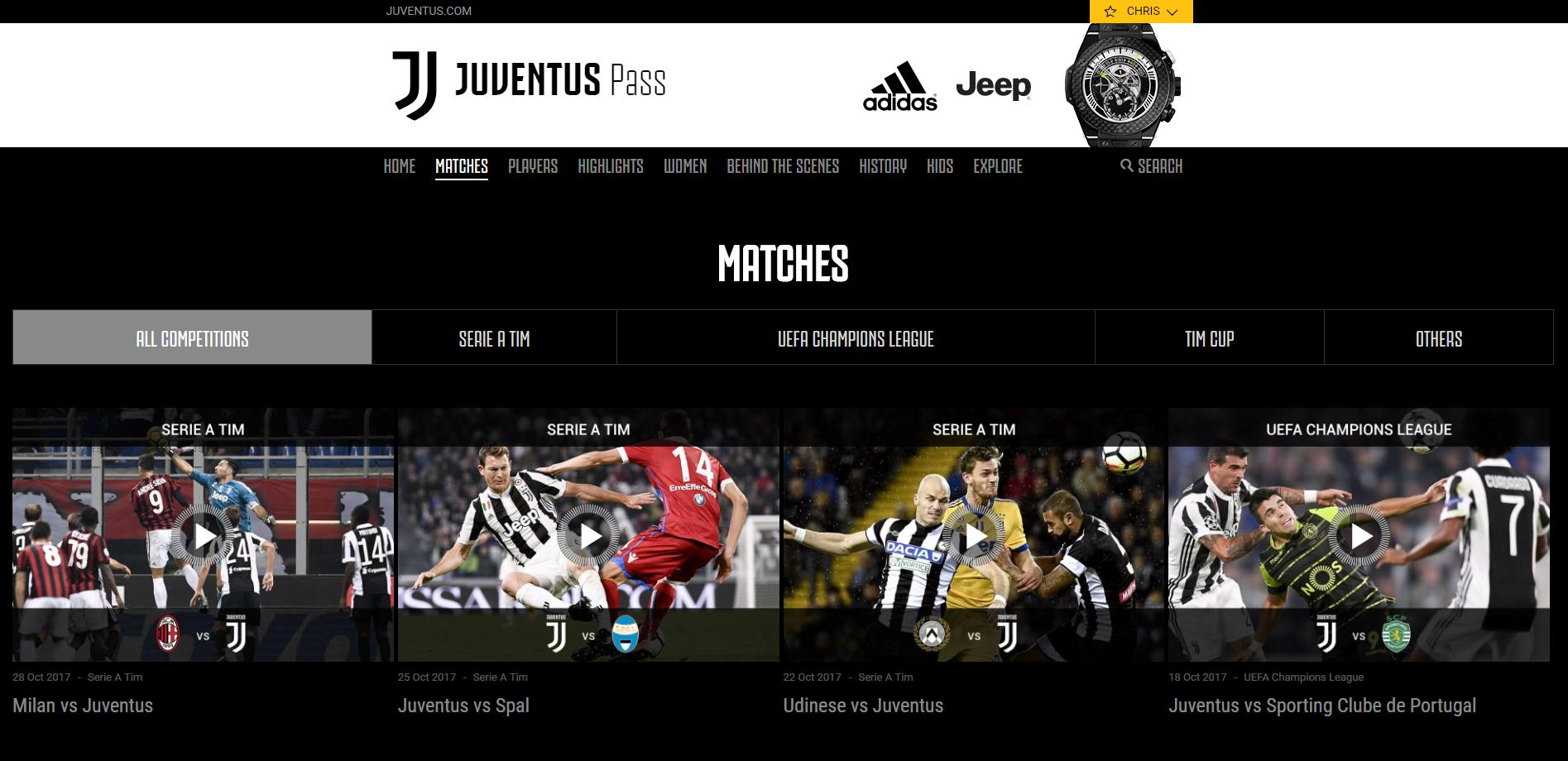 Juventus Subscription Package