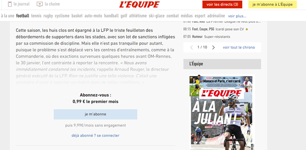 LEquipe Front Page