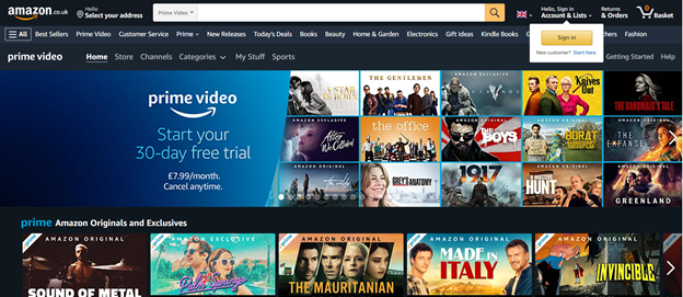 Amazon Video front page